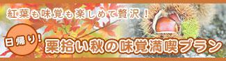 紅葉も味覚も楽しめて贅沢!「日帰り!栗拾い秋の味覚満喫プラン」のバナー画像